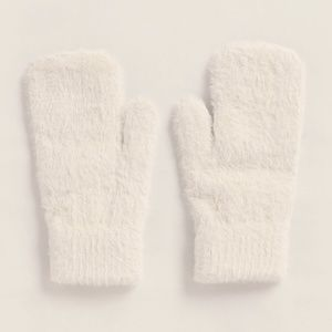 Betsey Johnson Fuzzy White Luxe Womens Mittens NWT